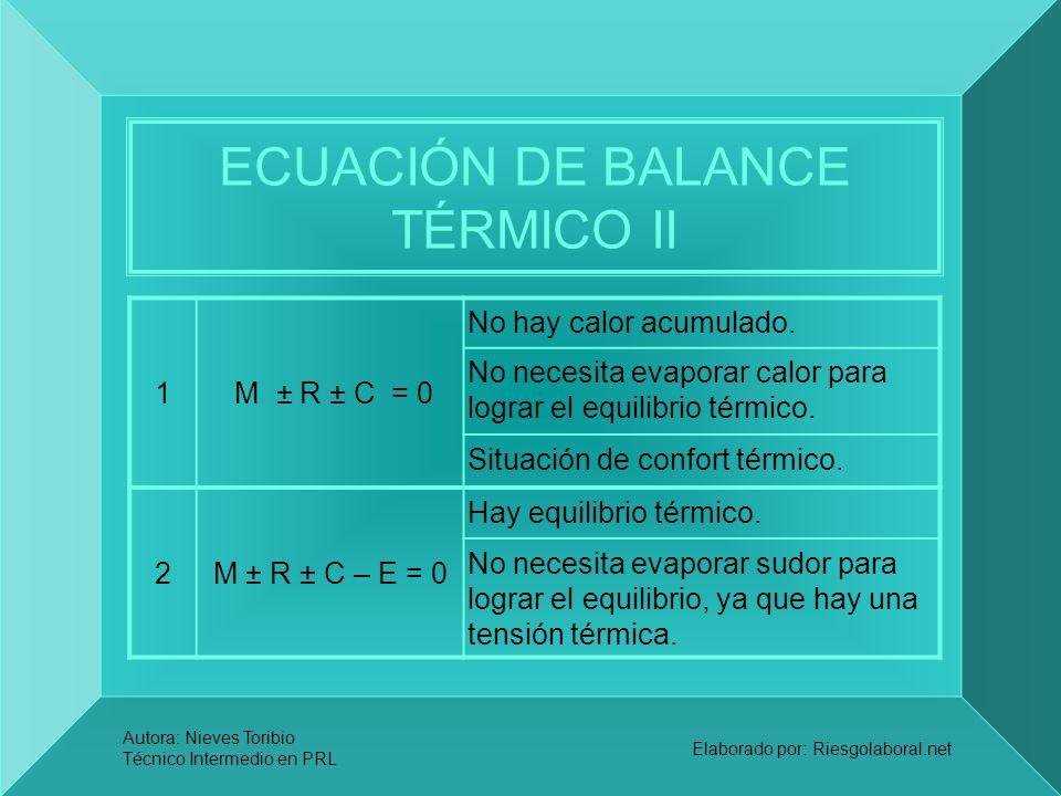 ECUACIÓN DE BALANCE TÉRMICO II