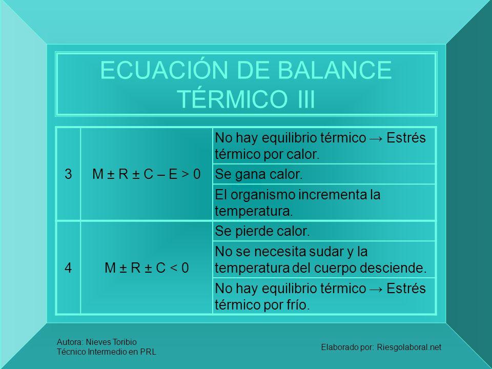 ECUACIÓN DE BALANCE TÉRMICO III