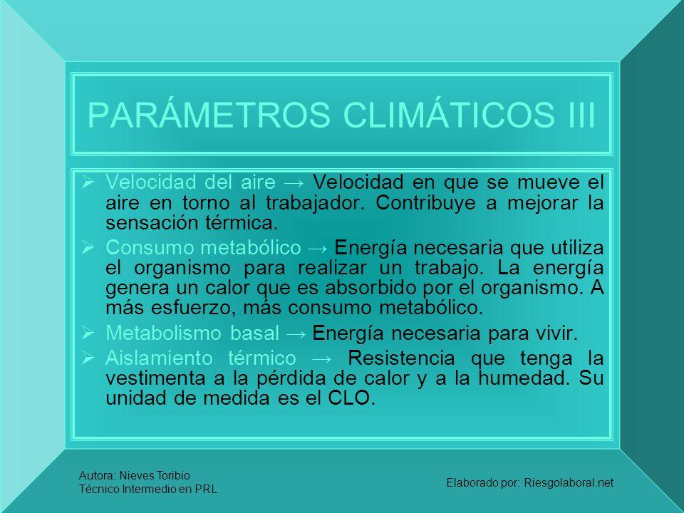 PARÁMETROS CLIMÁTICOS III