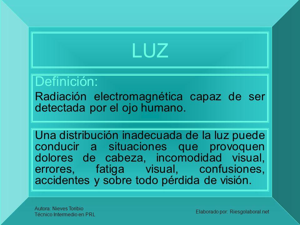 LUZ Definición: Radiación electromagnética capaz de ser detectada por el ojo humano.