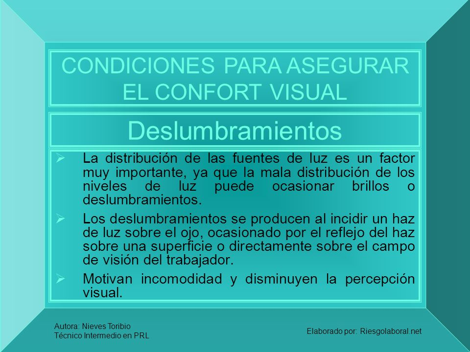 CONDICIONES PARA ASEGURAR EL CONFORT VISUAL