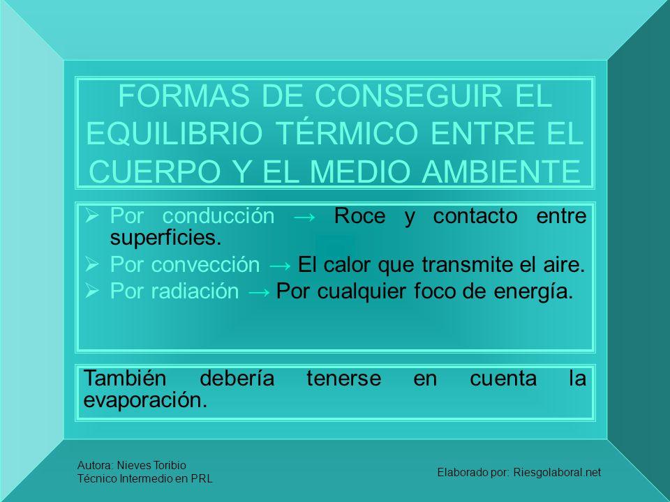 FORMAS DE CONSEGUIR EL EQUILIBRIO TÉRMICO ENTRE EL CUERPO Y EL MEDIO AMBIENTE