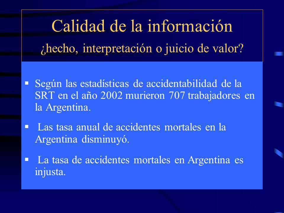 Calidad de la información ¿hecho, interpretación o juicio de valor