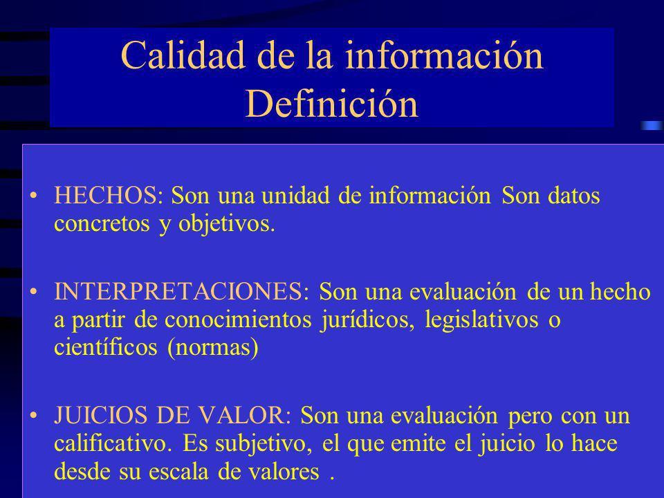 Calidad de la información Definición