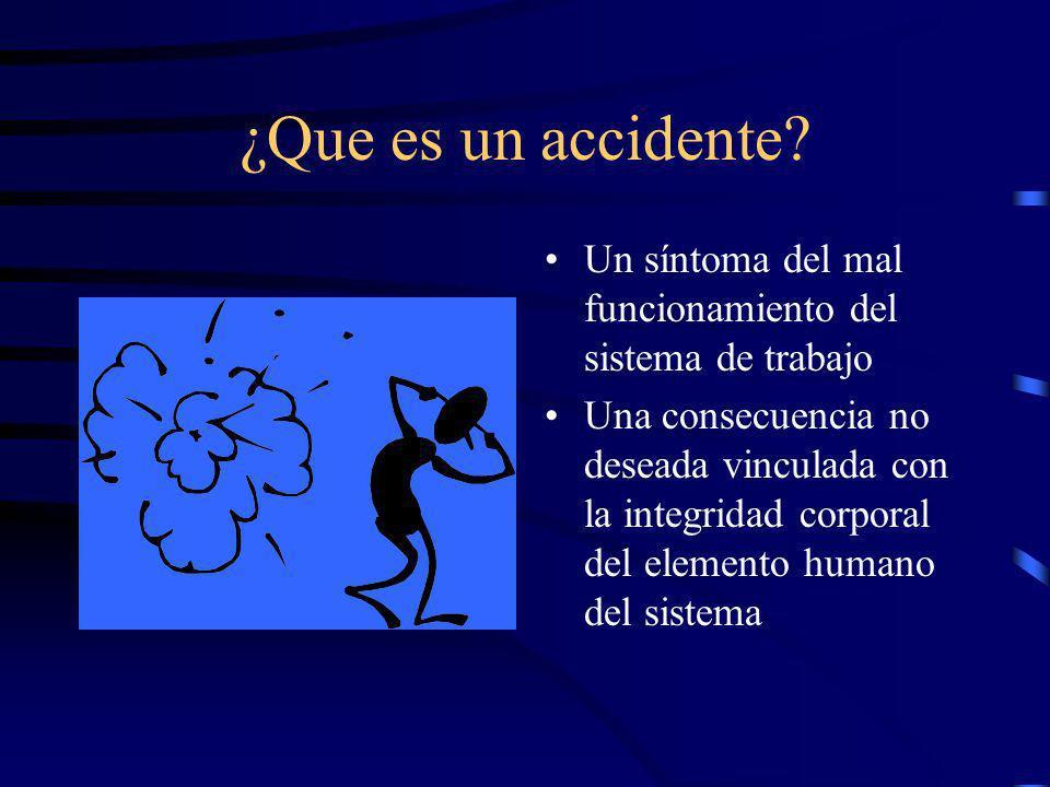 ¿Que es un accidente Un síntoma del mal funcionamiento del sistema de trabajo.