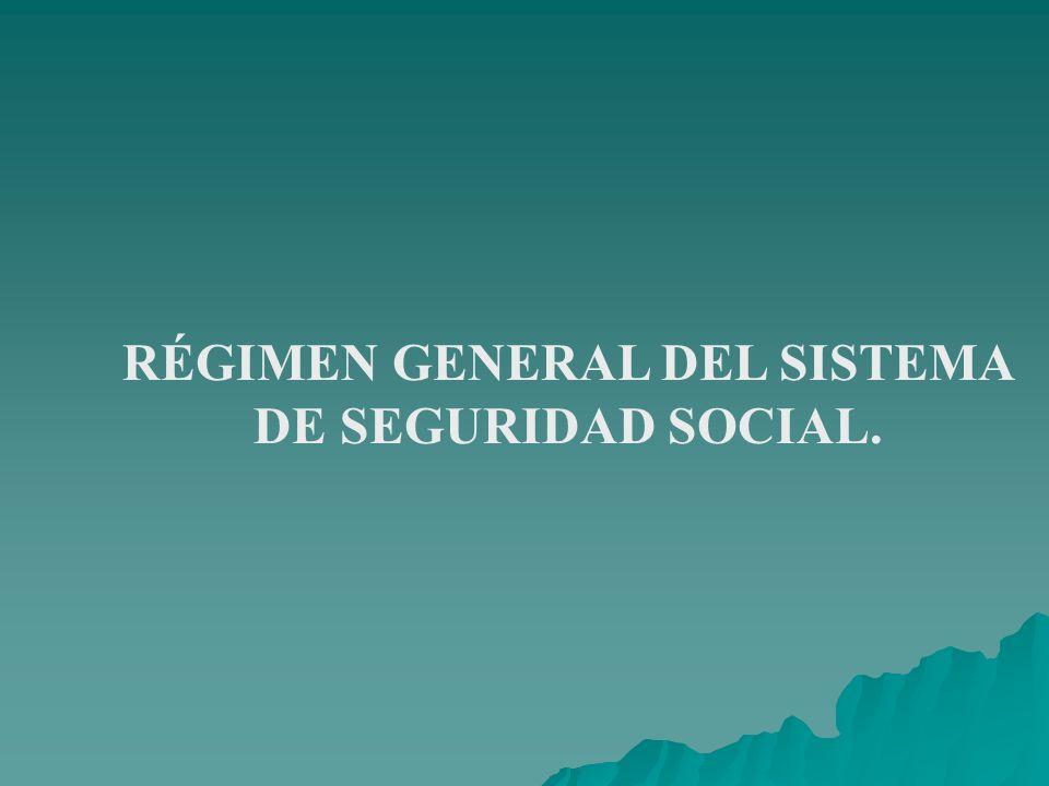 RÉGIMEN GENERAL DEL SISTEMA DE SEGURIDAD SOCIAL.