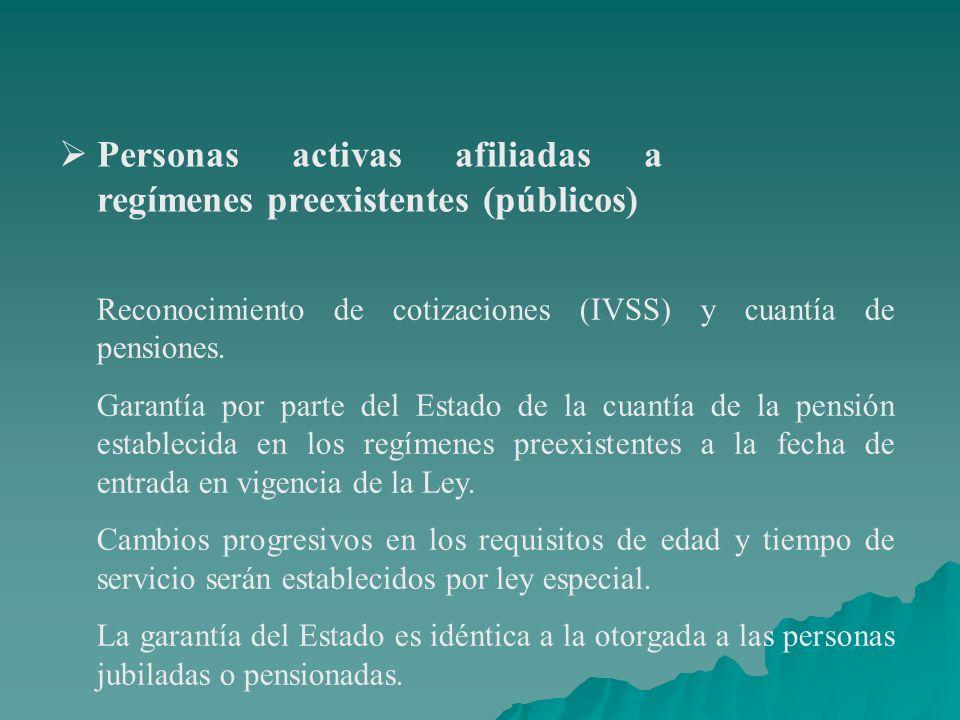 Personas activas afiliadas a regímenes preexistentes (públicos)