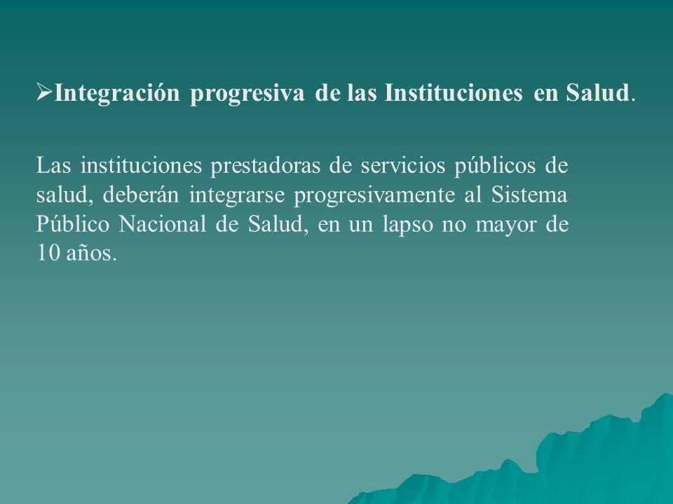 Integración progresiva de las Instituciones en Salud.