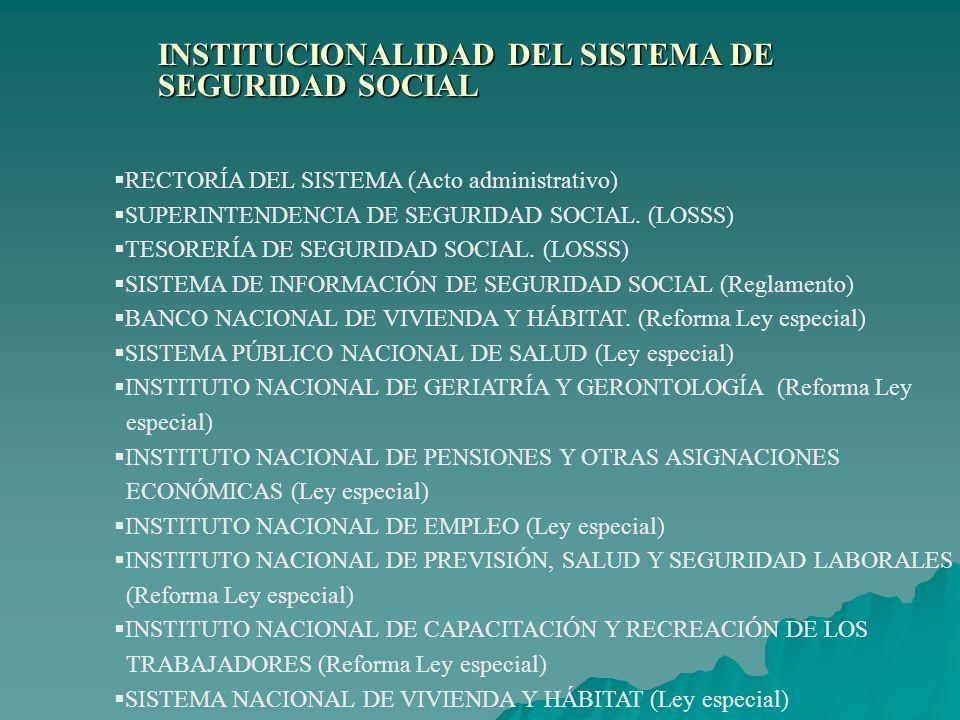 INSTITUCIONALIDAD DEL SISTEMA DE SEGURIDAD SOCIAL