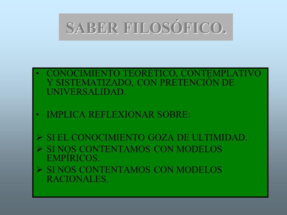 SABER FILOSÓFICO. CONOCIMIENTO TEORÉTICO, CONTEMPLATIVO Y SISTEMATIZADO, CON PRETENCIÓN DE UNIVERSALIDAD.