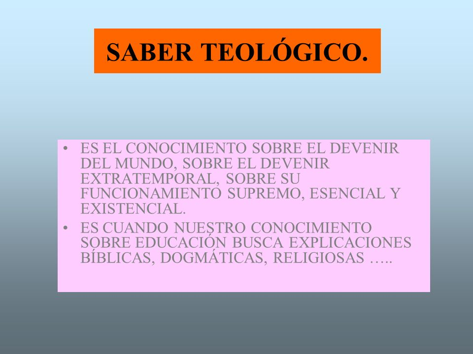 SABER TEOLÓGICO.