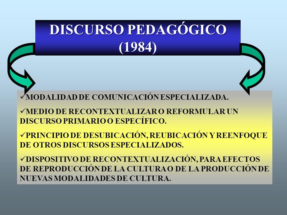 DISCURSO PEDAGÓGICO (1984)
