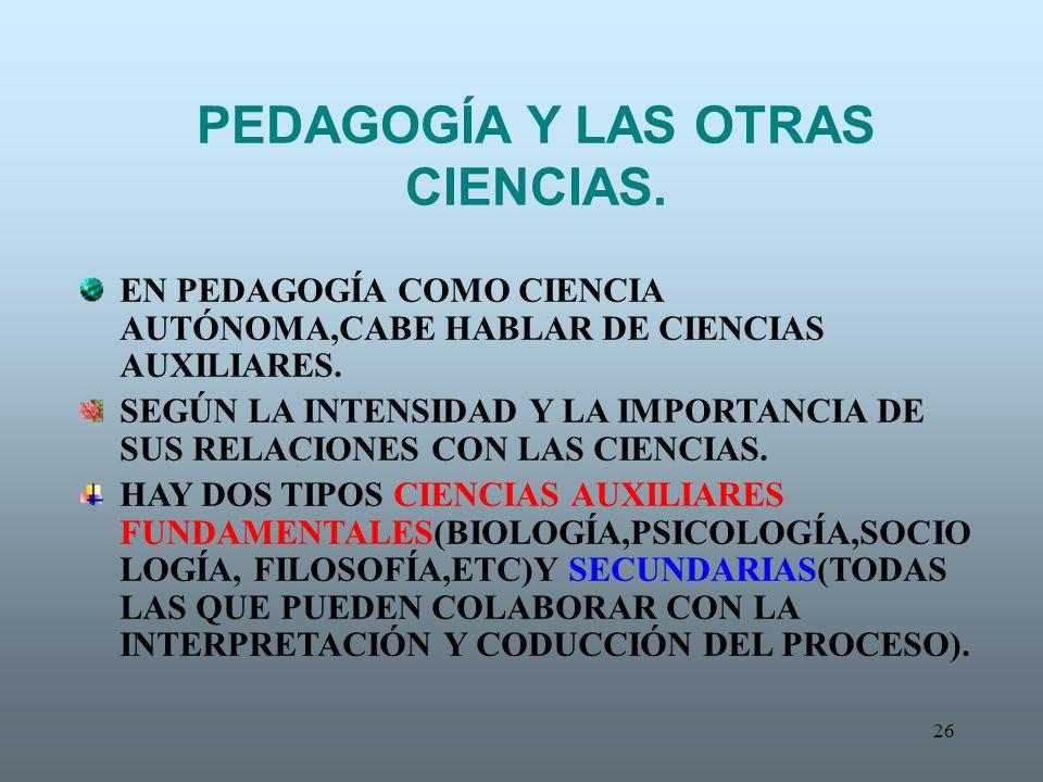 PEDAGOGÍA Y LAS OTRAS CIENCIAS.