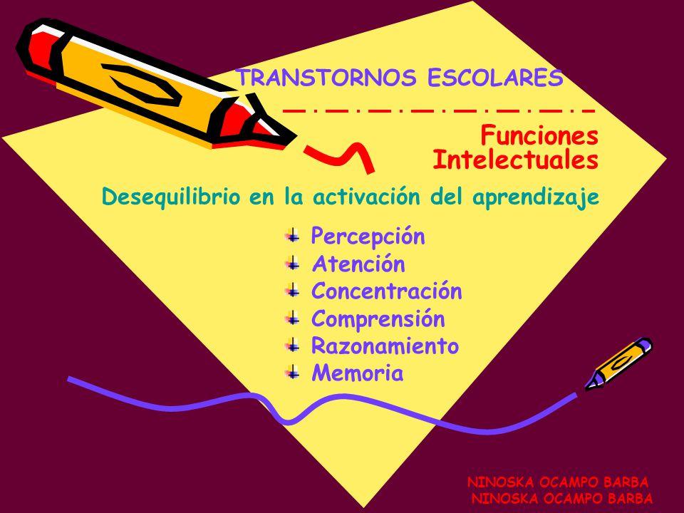 Funciones Intelectuales TRANSTORNOS ESCOLARES