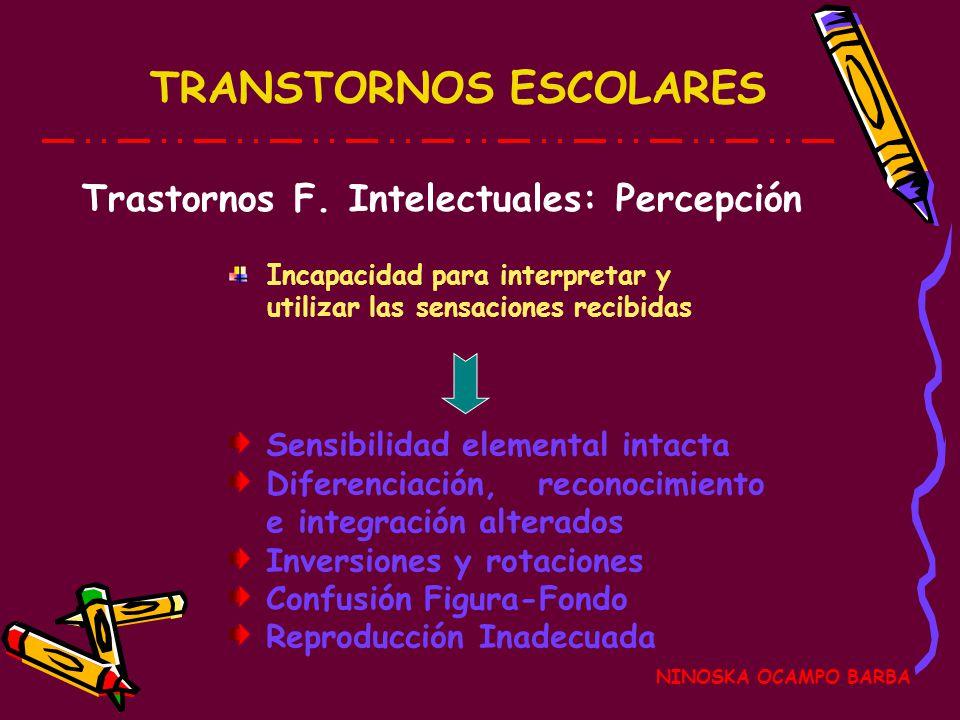 Trastornos F. Intelectuales: Percepción