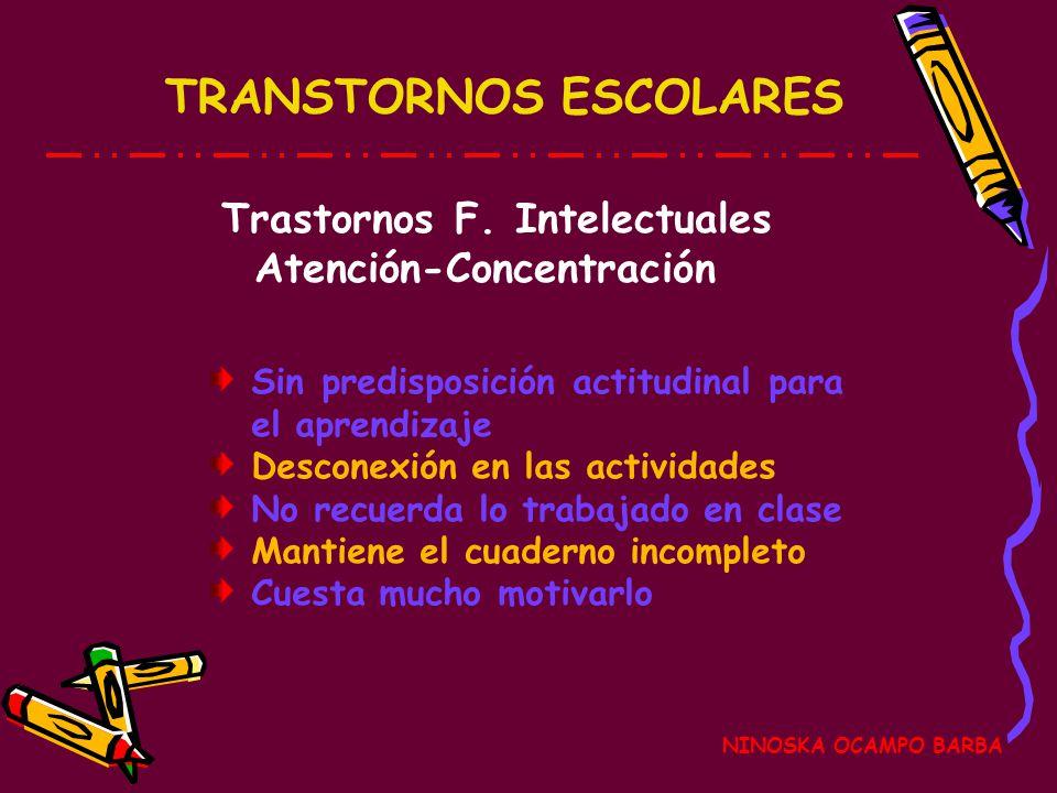 Trastornos F. Intelectuales Atención-Concentración