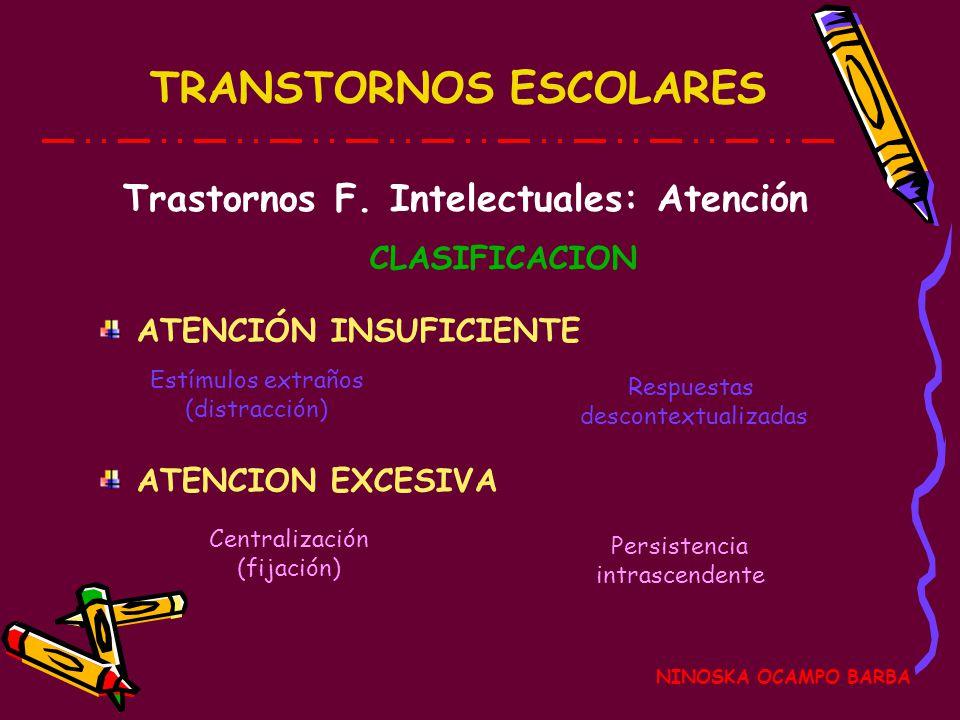 Trastornos F. Intelectuales: Atención