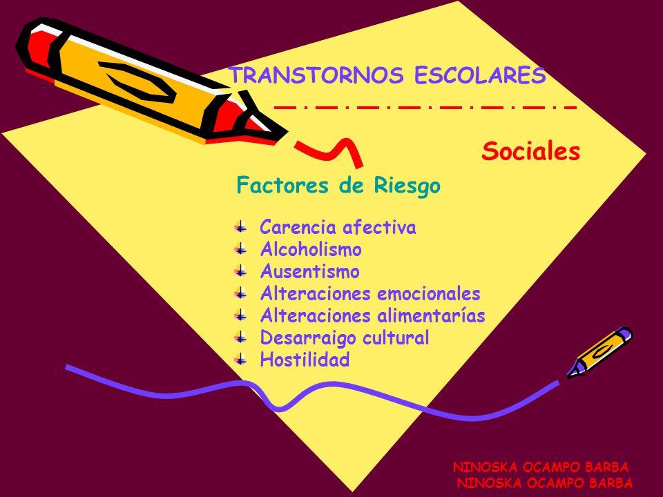 Sociales TRANSTORNOS ESCOLARES Factores de Riesgo Carencia afectiva
