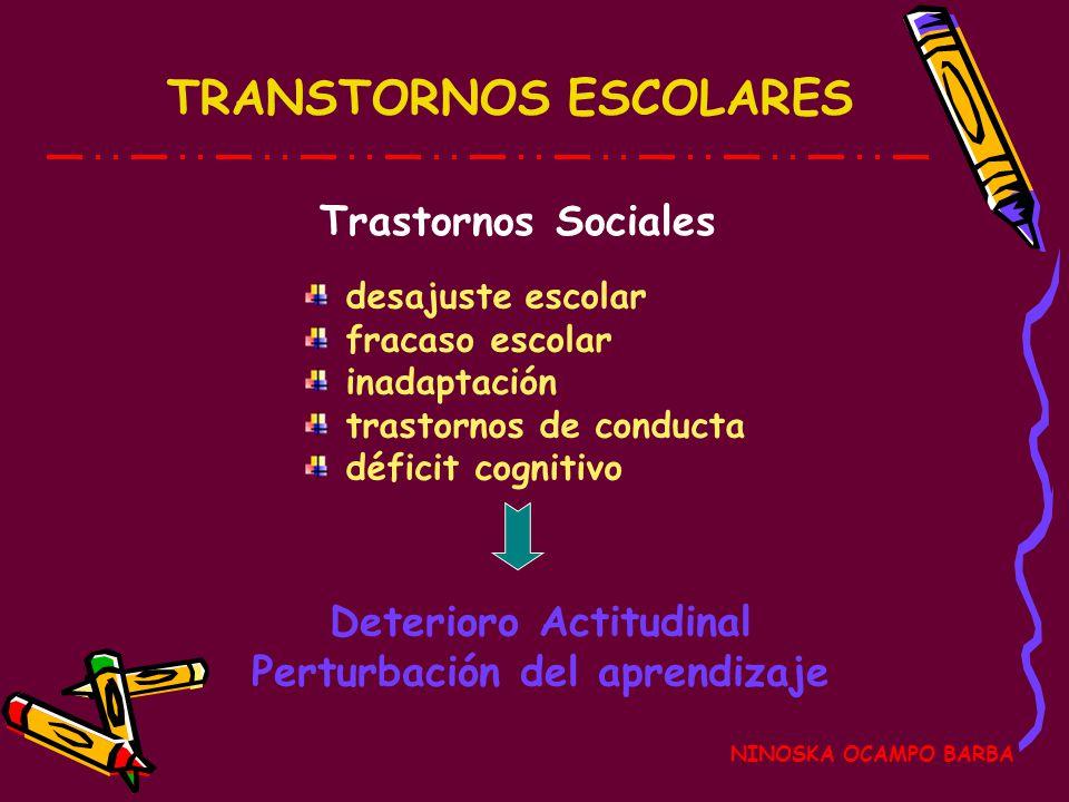 Deterioro Actitudinal Perturbación del aprendizaje