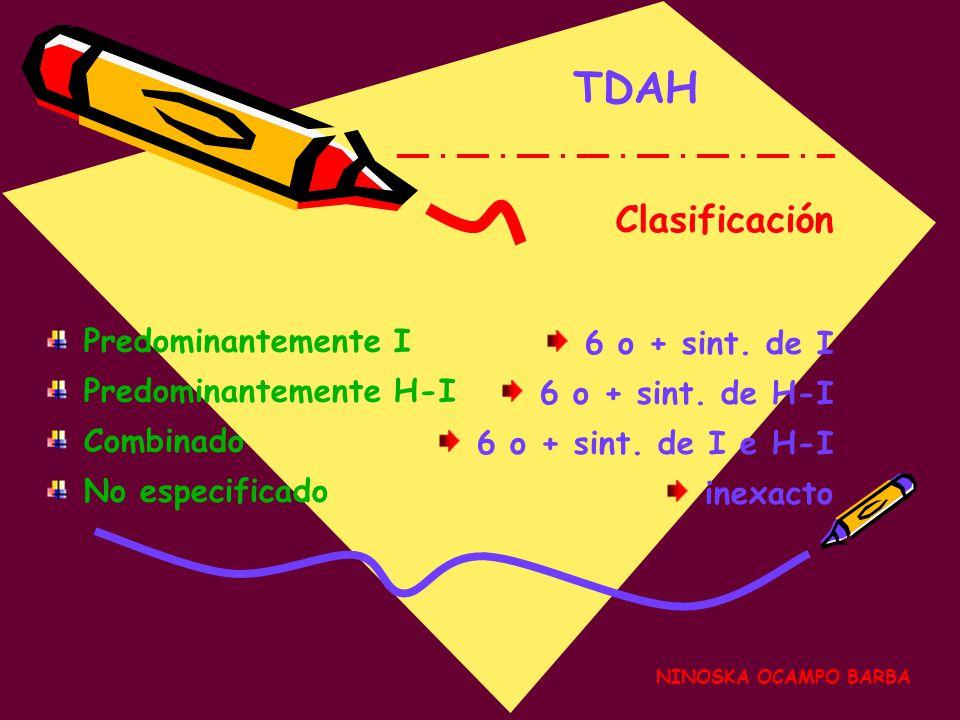 TDAH Clasificación Predominantemente I 6 o + sint. de I
