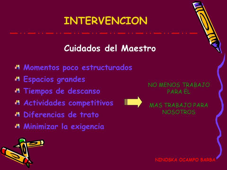 INTERVENCION Cuidados del Maestro Momentos poco estructurados