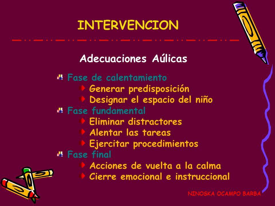 INTERVENCION Adecuaciones Aúlicas Fase de calentamiento
