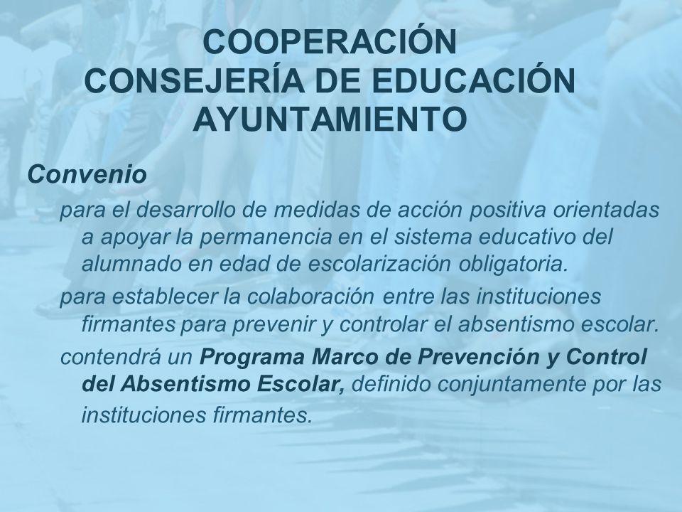 COOPERACIÓN CONSEJERÍA DE EDUCACIÓN AYUNTAMIENTO