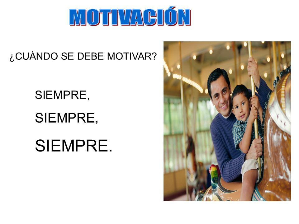 MOTIVACIÓN ¿CUÁNDO SE DEBE MOTIVAR SIEMPRE, SIEMPRE.