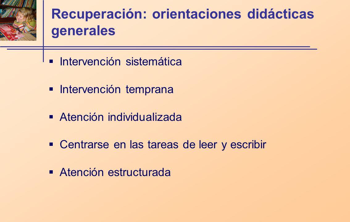 Recuperación: orientaciones didácticas generales
