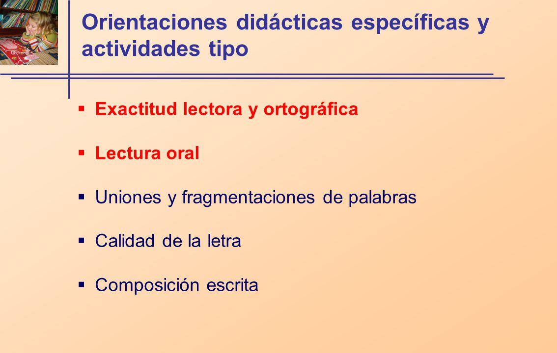 Orientaciones didácticas específicas y actividades tipo