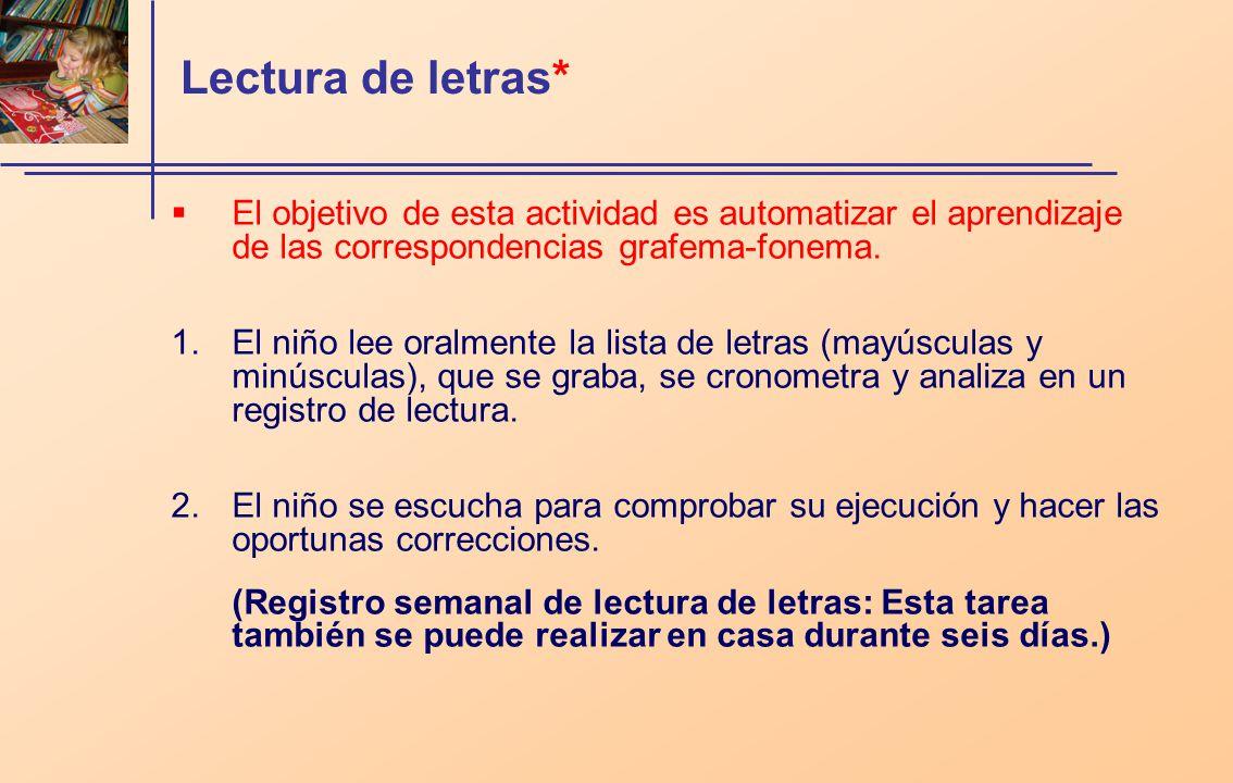 Lectura de letras* El objetivo de esta actividad es automatizar el aprendizaje de las correspondencias grafema-fonema.