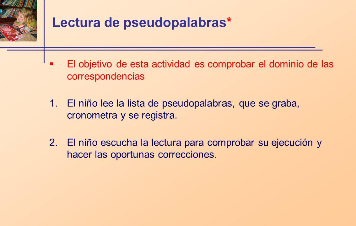 Lectura de pseudopalabras*