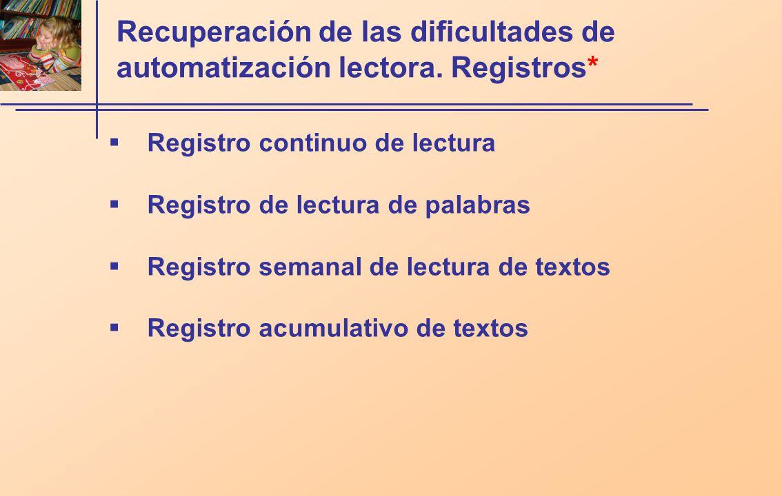 Recuperación de las dificultades de automatización lectora. Registros*