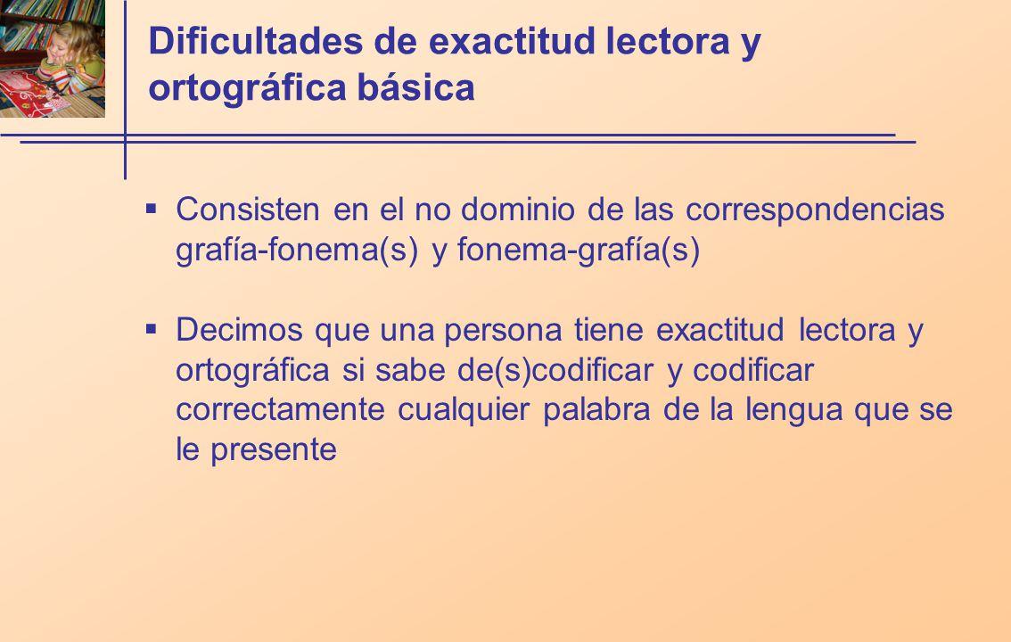 Dificultades de exactitud lectora y ortográfica básica