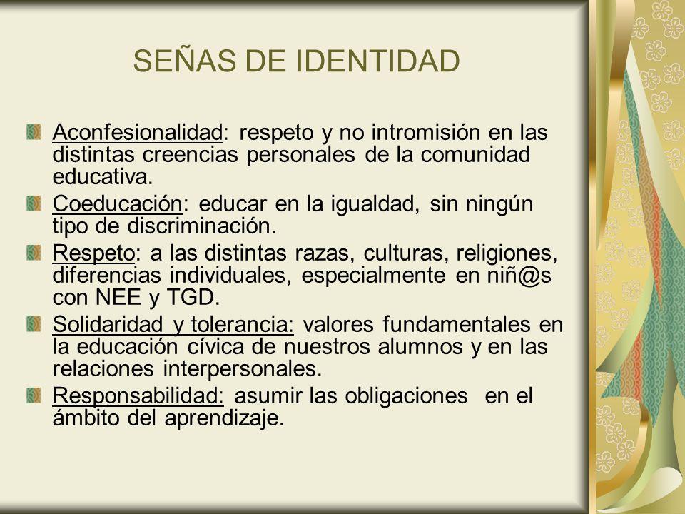 SEÑAS DE IDENTIDAD Aconfesionalidad: respeto y no intromisión en las distintas creencias personales de la comunidad educativa.