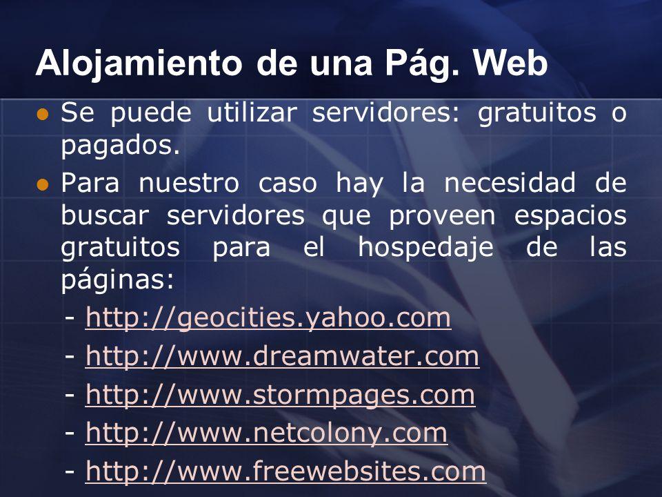 Alojamiento de una Pág. Web