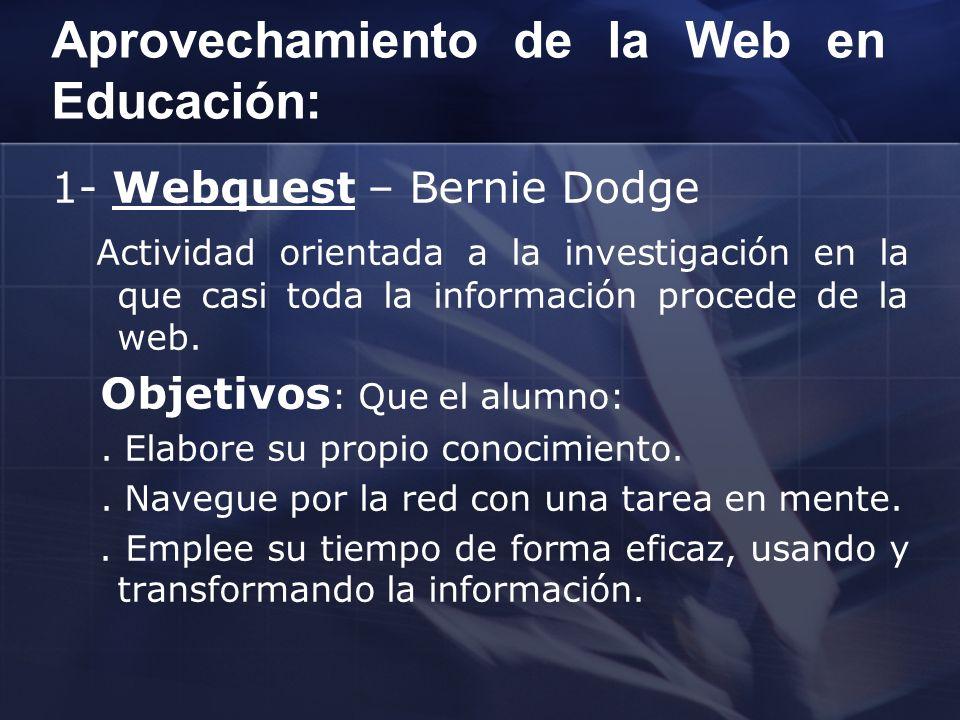 Aprovechamiento de la Web en Educación: