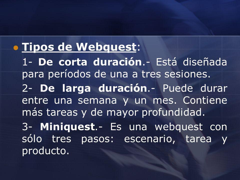 Tipos de Webquest: 1- De corta duración.- Está diseñada para períodos de una a tres sesiones.