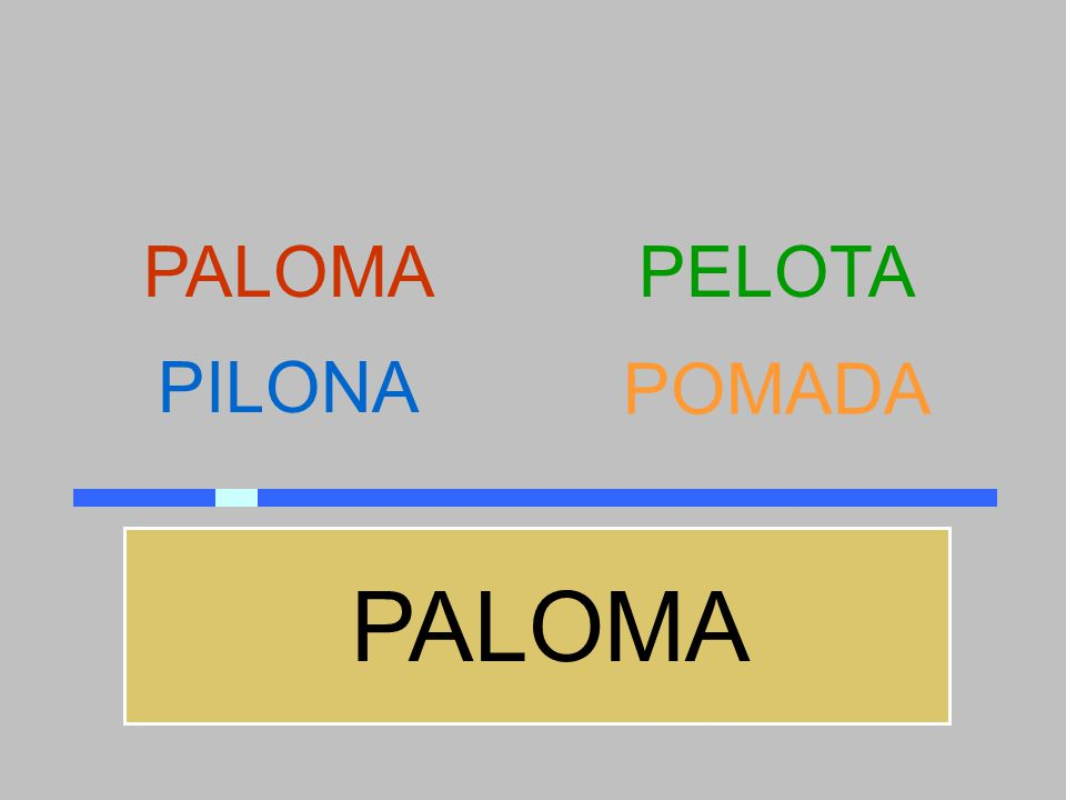 PALOMA PELOTA PILONA POMADA PALOMA