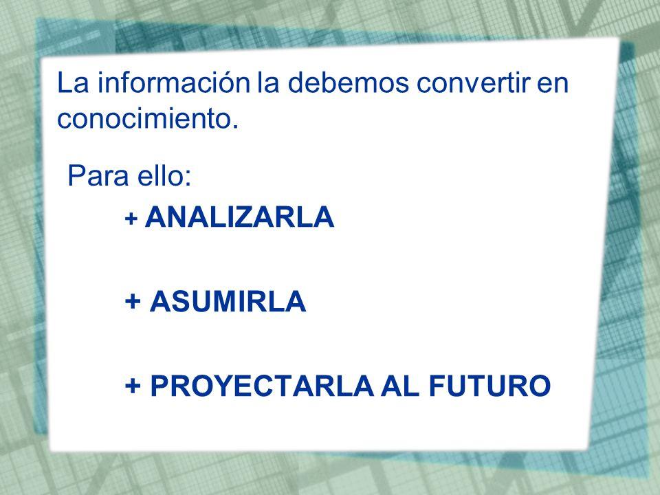 La información la debemos convertir en conocimiento.