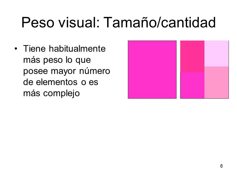 Peso visual: Tamaño/cantidad