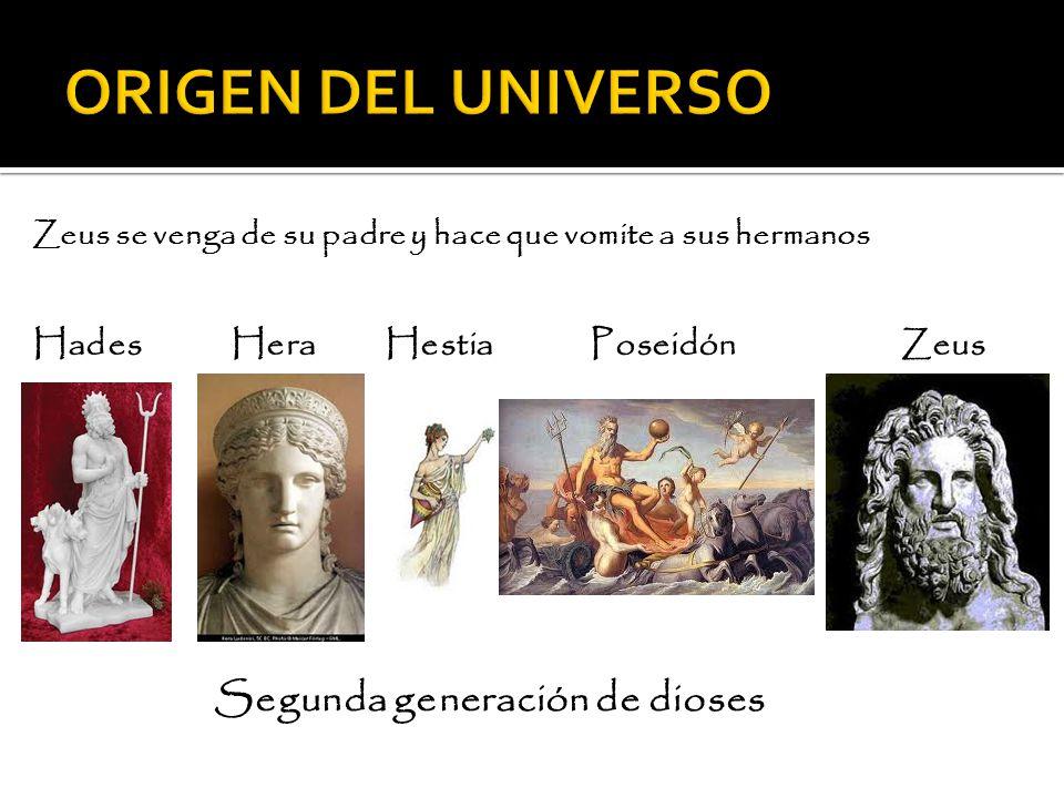 ORIGEN DEL UNIVERSO Hades Hera Hestia Poseidón Zeus