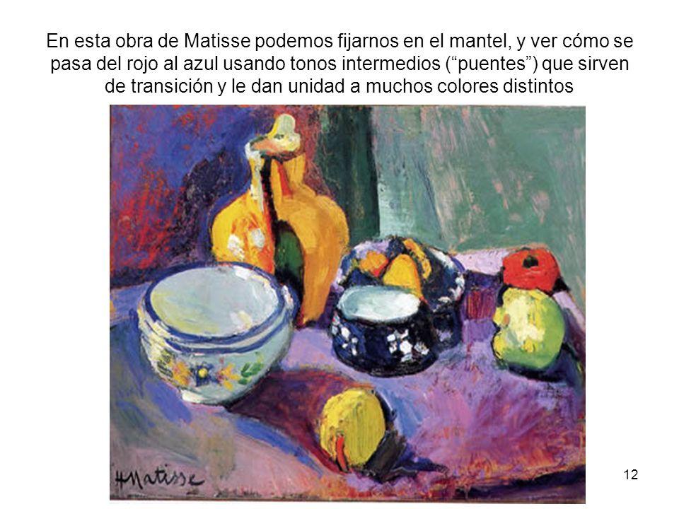 En esta obra de Matisse podemos fijarnos en el mantel, y ver cómo se pasa del rojo al azul usando tonos intermedios ( puentes ) que sirven de transición y le dan unidad a muchos colores distintos