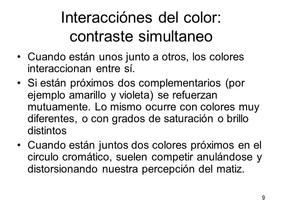 Interacciónes del color: contraste simultaneo