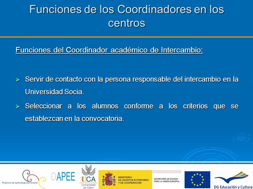 Funciones de los Coordinadores en los centros