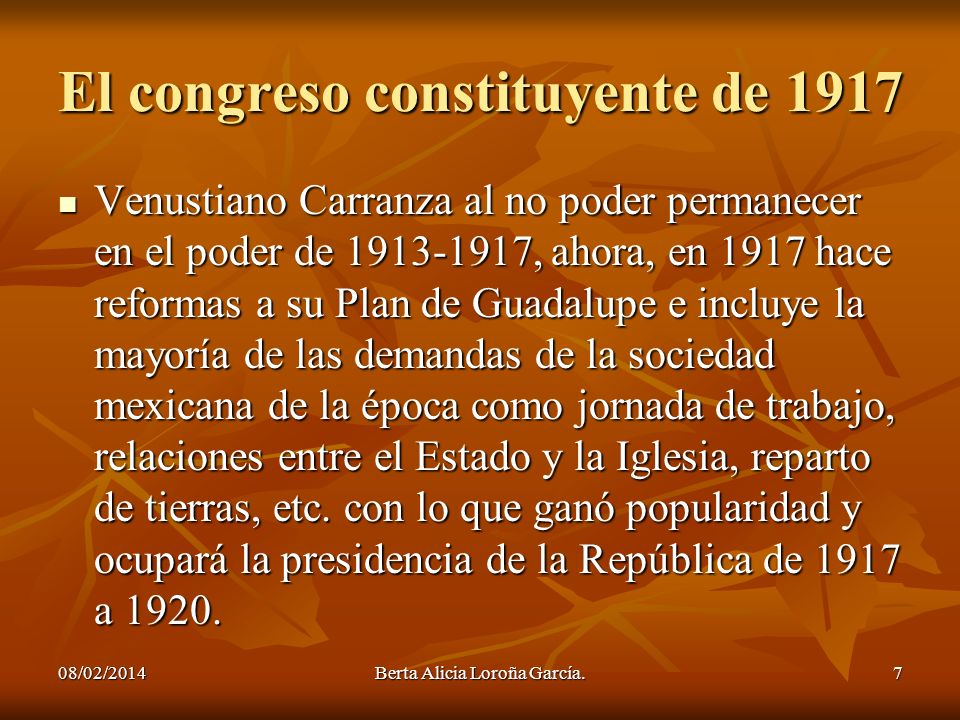 El congreso constituyente de 1917