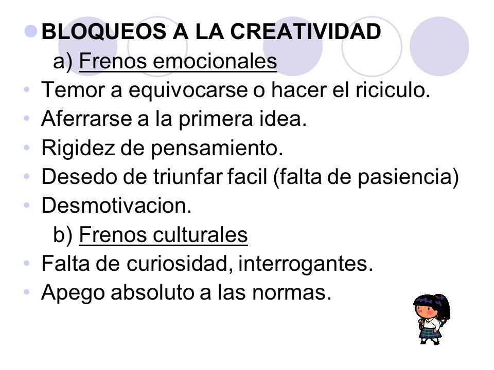 BLOQUEOS A LA CREATIVIDAD