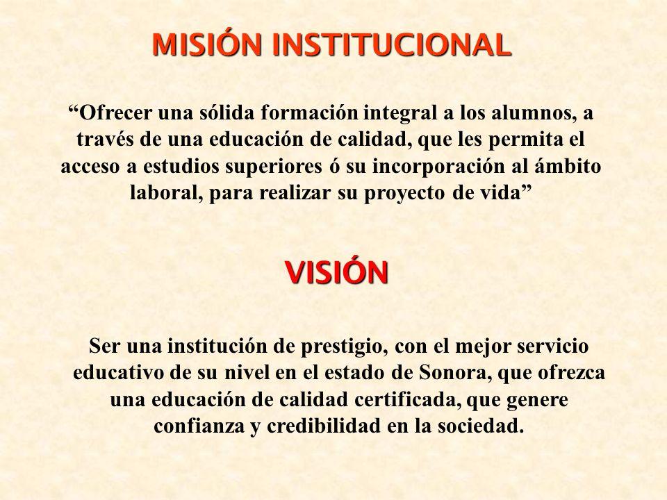 MISIÓN INSTITUCIONAL VISIÓN