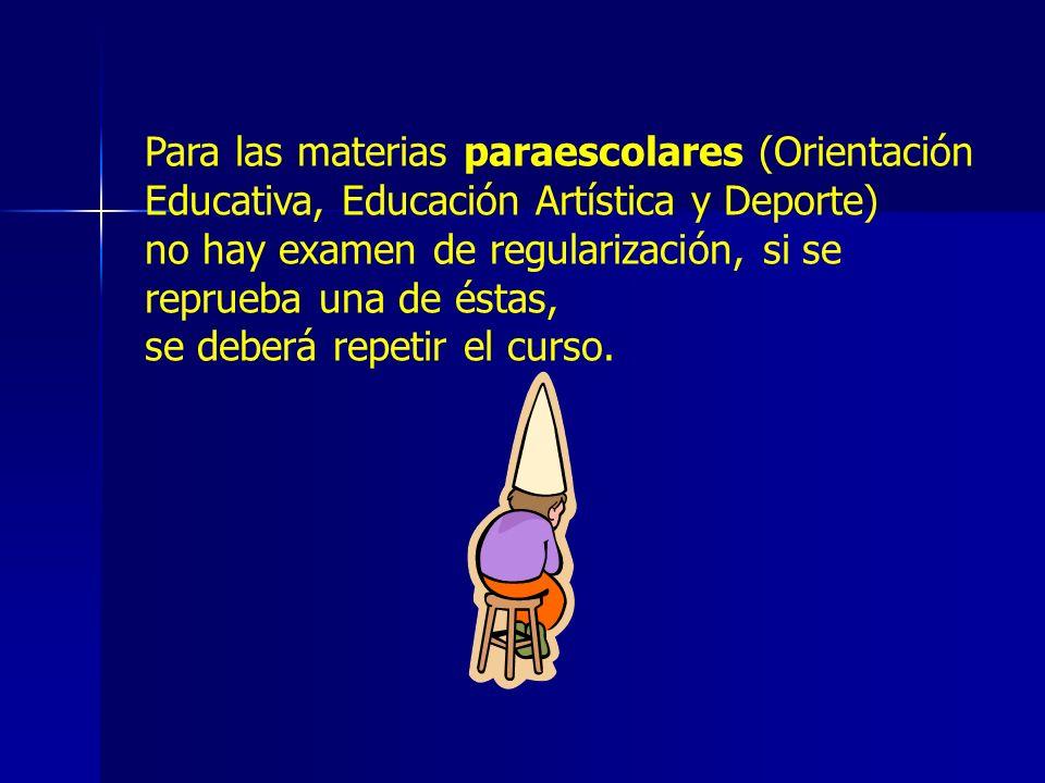Para las materias paraescolares (Orientación