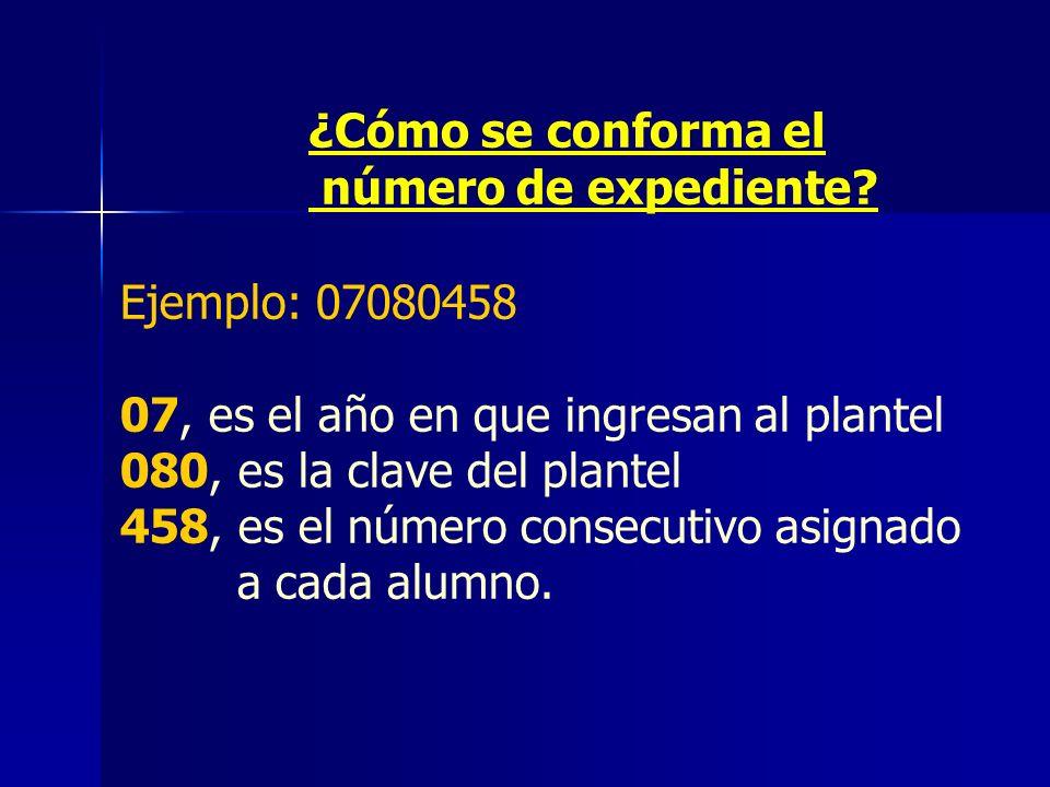 ¿Cómo se conforma el número de expediente Ejemplo: 07080458. 07, es el año en que ingresan al plantel.